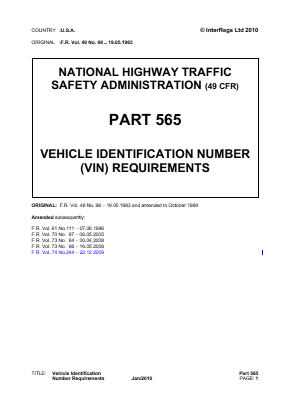 Vehicle Identification Number (VIN) Requirements.