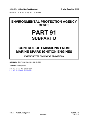 Control of Emissions from Marine Spark-ignition Engines - Emission Test Equipment Provisions.