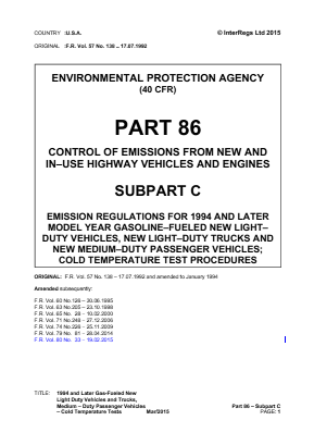 1994 and Later Gas-fueled New Light-duty Vehicles and Trucks, Medium-duty Passenger Vehicles - Cold Temperature Tests.