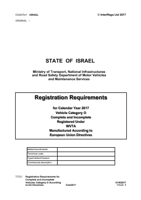 Registration Requirements for Complete and Incomplete Vehicles Category O According to EU Directives.