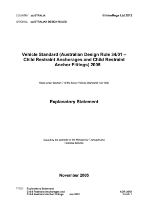 Child Restraints and Anchorages.