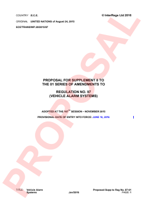 Anti-theft Protection (Vehicle Alarm Systems). Proposed Supplement 8 to the 01 Series.