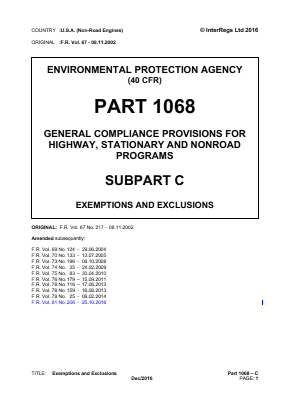 General Compliance Provisions for Highway, Stationary and Non-road Programs - Exemptions and Exclusions.