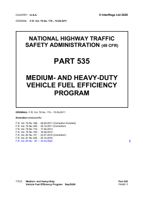 Medium- and Heavy-duty Vehicle Fuel Efficiency Program.