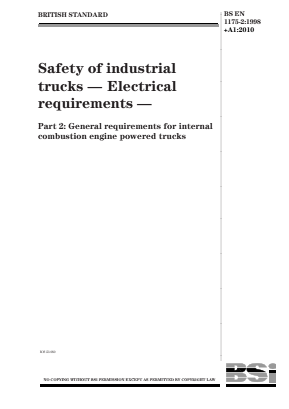Industrial Trucks - Safety - Electrical Requirements for Internal Combustion Engined Trucks.