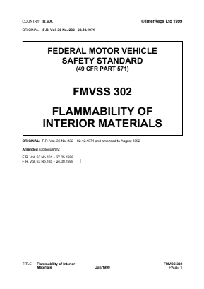 Flammability of Interior Materials.