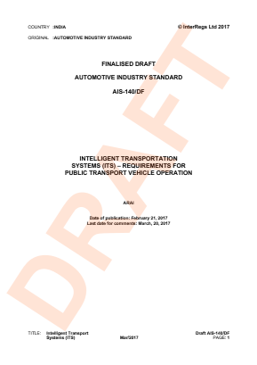 Intelligent Transport System (ITS) - Requirements for Public Transport Vehicle Operation.