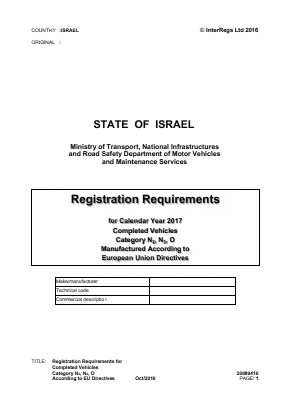 Registration Requirements for Completed Vehicles Category N2, N3, O According to EU Directives.