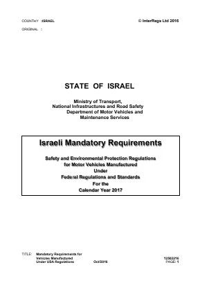Mandatory Requirements for Vehicles Manufactured Under USA Regulations.