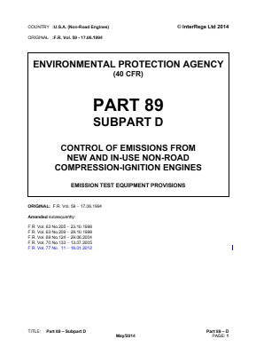 Control of Emissions from New and In-use Non-road Compression-ignition Engines - Emission Test Equipment Provisions.