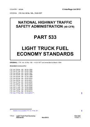Light Truck Fuel Economy Standards.