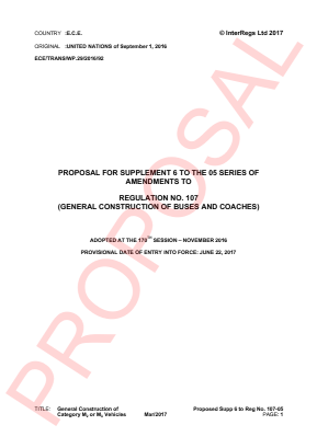 General Construction of M2 or M3 Vehicles. Proposed Supplement 6 to the 05 Series.