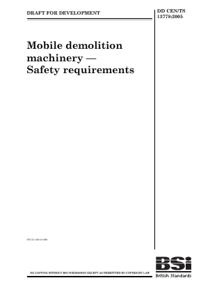 Demolition Machinery (Mobile) - Safety Requirements (Technical Specification).