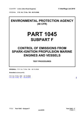Control of Emissions from Spark-ignition Propulsion Marine Engines and Vessels - Test Procedures.