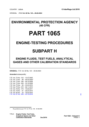 Engine Testing Procedures - Engine Fluids, Test Fuels, Analytical Gases and Other Calibration Standards.