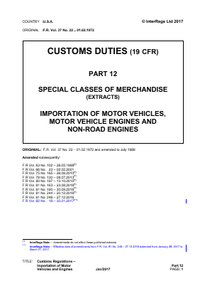 Customs Regulations - Importation of Motor Vehicles and Engines  (Extracts).