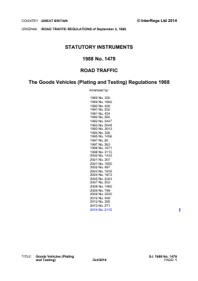 Goods Vehicles (Plating and Testing) Regulations 1988.