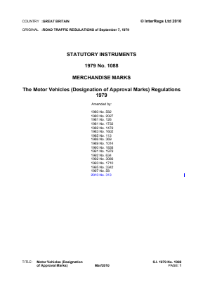 Motor Vehicles (Designation of Approval Marks) Regulations 1979.