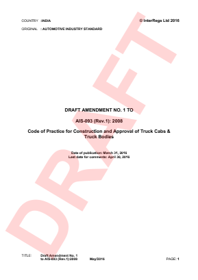 Code of Practice for Construction and Approval of Truck Cab and Truck Bodies - Draft.