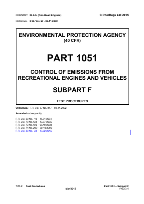 Control of Emissions from Recreational Engines and Vehicles - Test Procedures.