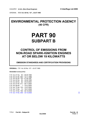 Emission Standards and Certification Provisions.