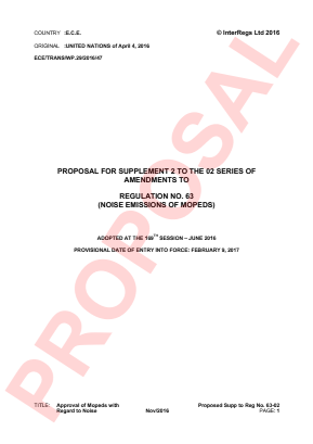 Noise - Mopeds. Proposed Supplement 2 to the 02 Series.