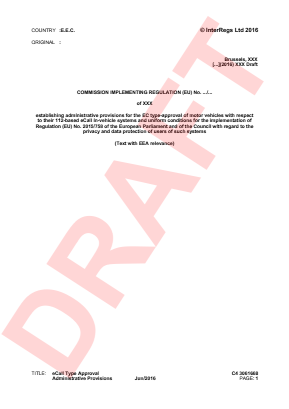 Draft eCall Type Approval Administrative Provisions.