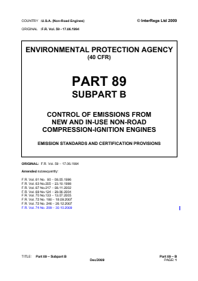 Control of Emissions from New and In-use Non-road Compression-ignition Engines - Emission Standards and Certification Provisions.