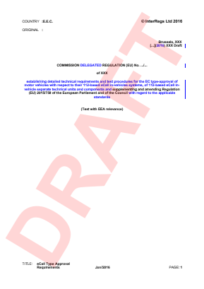 Draft Commission Delegated Regulation Supplementing and Amending Regulation (EU) No. 2015/758 (eCall).