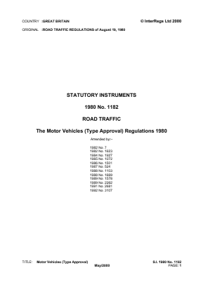 Motor Vehicles (Type Approval) Regulations 1980.