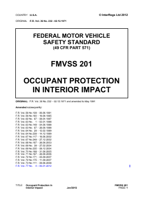 Occupant Protection - Interior Impact.