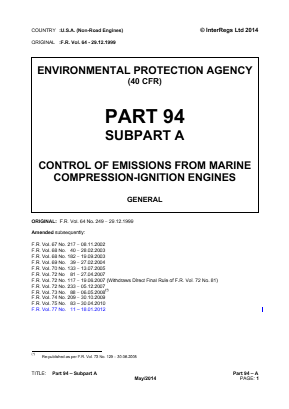 Control of Emissions from Marine Compression-ignition Engines - General.