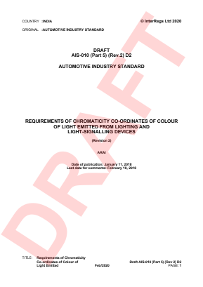 Requirements of Chromaticity Co-ordinates of Colour of Light Emitted from Lighting and Light-signalling Devices.