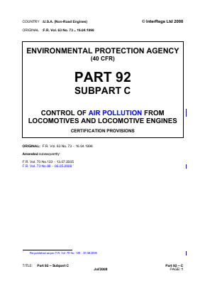 Control of Air Pollution from Locomotives and Locomotive Engines - Certification Provisions.