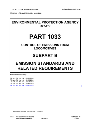 Control of Emissions from Locomotives - Emission Standards and Related Requirements.