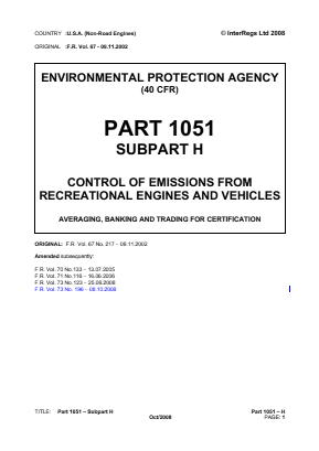 Control of Emissions from Recreational Engines and Vehicles - Averaging, Banking and Trading for Certification.