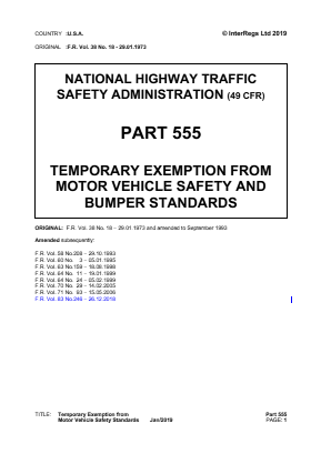 Temporary Exemption from Motor Vehicle Safety and Bumper Standards.