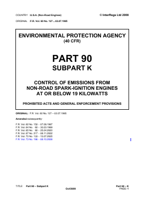 Control of Emissions from Non-road Spark-ignition Engines at or below 19kW - Prohibited Acts and General Enforcement Provisions.
