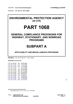 General Compliance Provisions for Highway, Stationary and Non-road Programs - Applicability and Miscellaneous Provisions.