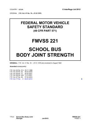 Body Joint Strength on School Buses.