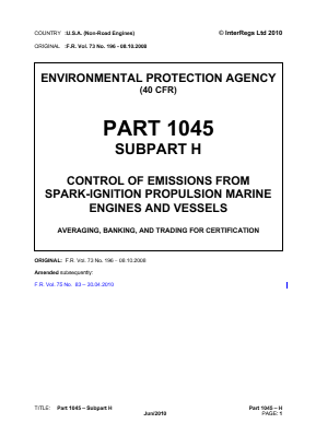 Control of Emissions from Spark-ignition Propulsion Marine Engines and Vessels - Averaging, Banking and Trading for Certification.