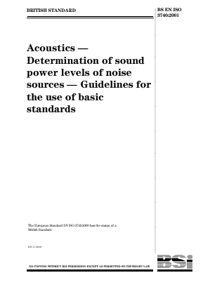 Noise - Acoustics - Guidelines for the Use of Basic Standards - Sound Power Level.