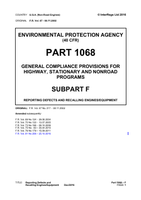 General Compliance Provisions for Highway, Stationary and Non-road Programs - Reporting Defects and Recalling Engines/Equipment.