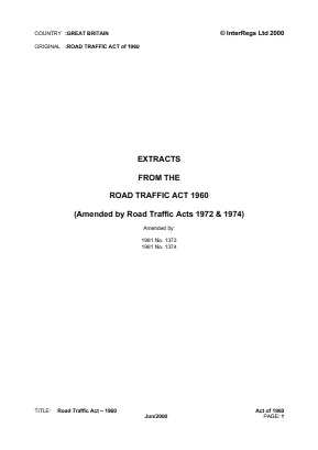 Road Traffic Act 1960 (Extracts).