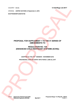 Approval of Enhanced Child Restraint Systems (ECRS). Proposed Supplement 1 to the 01 Series.