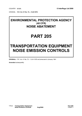 Transport Equipment Noise Control.