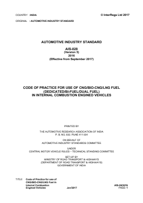 Code of Practice for use of CNG/BIO-CNG/LNG Fuel in Internal Combustion Engined Vehicles.