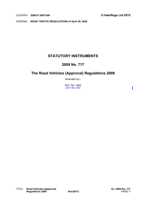 Road Vehicles (Approval) Regulations 2009.