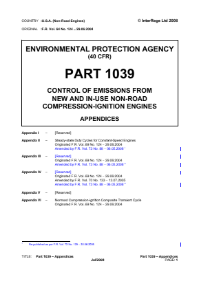 Control of Emissions from New and In-use Non-road Compression-ignition Engines - Appendices.