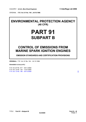Control of Emissions from Marine Spark-ignition Engines - Emission Standards and Certification Provisions.